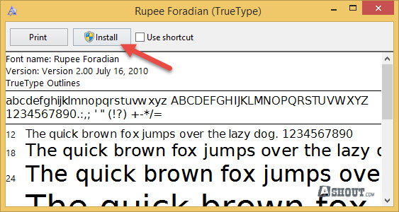 install rupee font on windows os