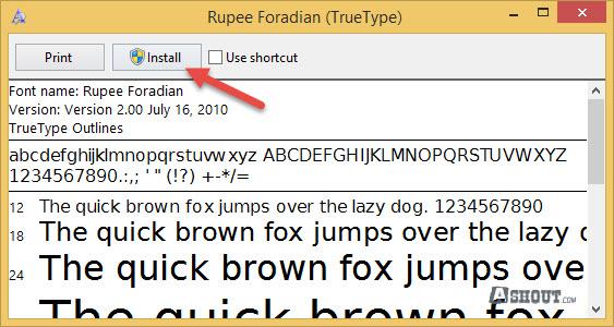 install rupee font on windows os