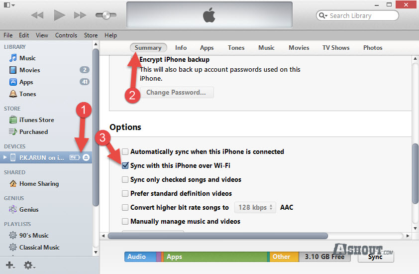 enable Sync with this iPhone over Wi-Fi