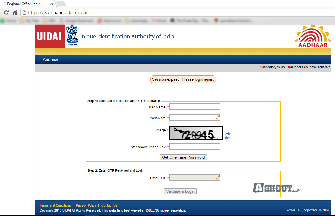 aadhar card download session expired