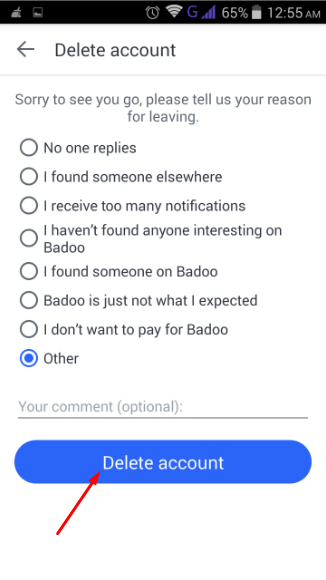 how to delete badoo account from phone