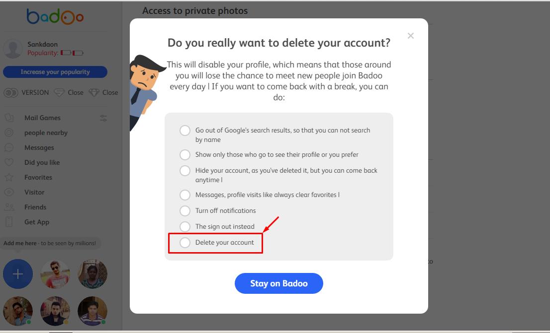 how to delete badoo