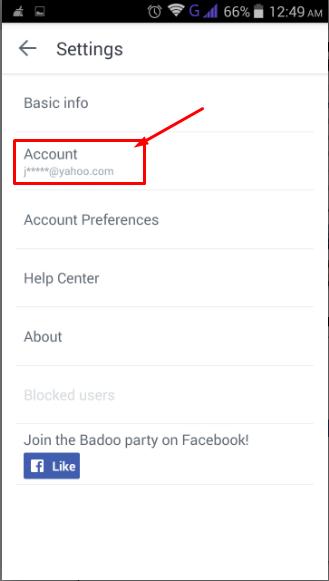 select account tab on badoo app