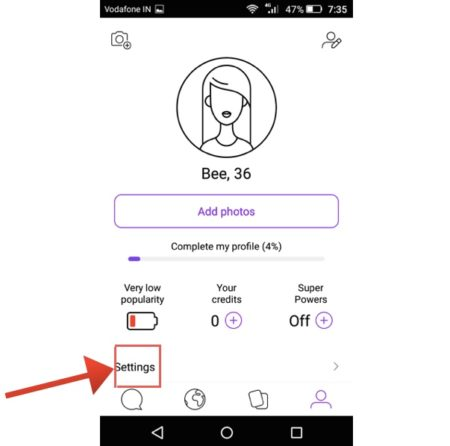 badoo android settings