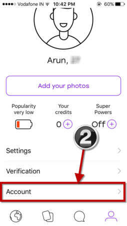 select account option badoo iphone app