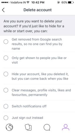 badoo delete confirmation message