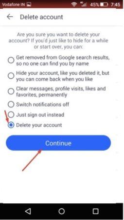 badoo app delete your account