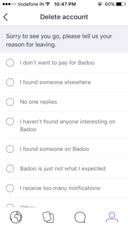 badoo account delete reason