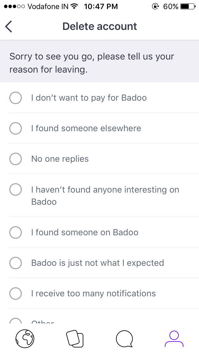 Contact badoo to delete account