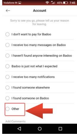 badoo delete reason android
