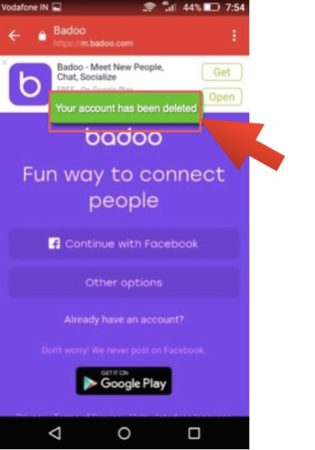 delete badoo account on android app