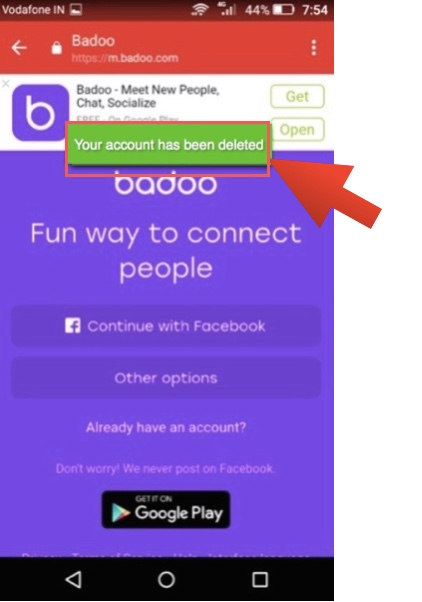 Delete badoo account on website android app ios app 2018 delete badoo account on android app ccuart Gallery