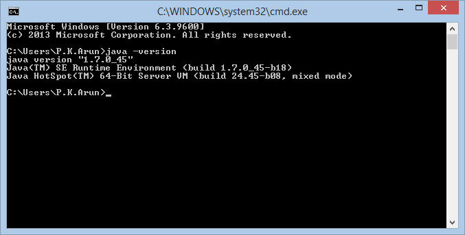 check java version command windows