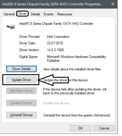 Driver tab and click on Update driver