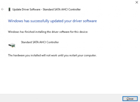 driver update success message
