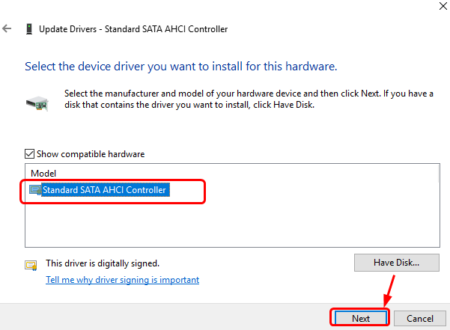 select the device driver you want to install